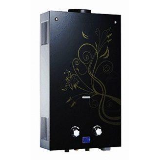 Газовий проточний водонагрівач Martix 20 кВт 10 л/хв принт чорна квітка скло