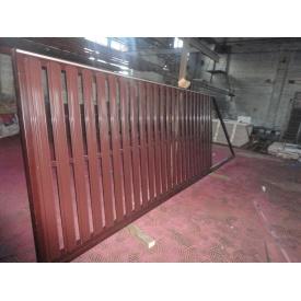 Ворота откатные с односторонней зашивкой штакет
