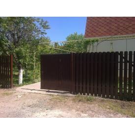 Ворота откатные из профнастила коричневые