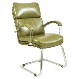 Офисное кресло Дакота Richman 1010х610х700 мм Хром кожзам -оливковый кожзам