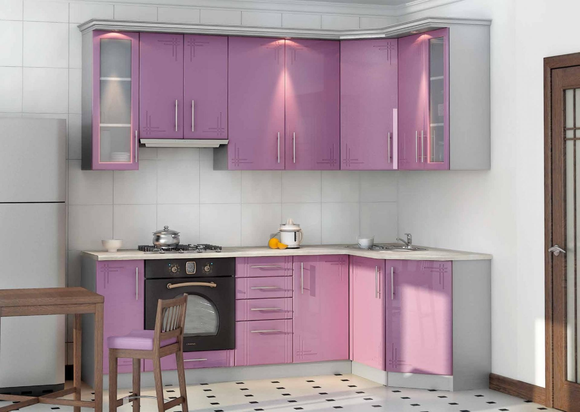 Сиреневая заказная кухня - вариант №022