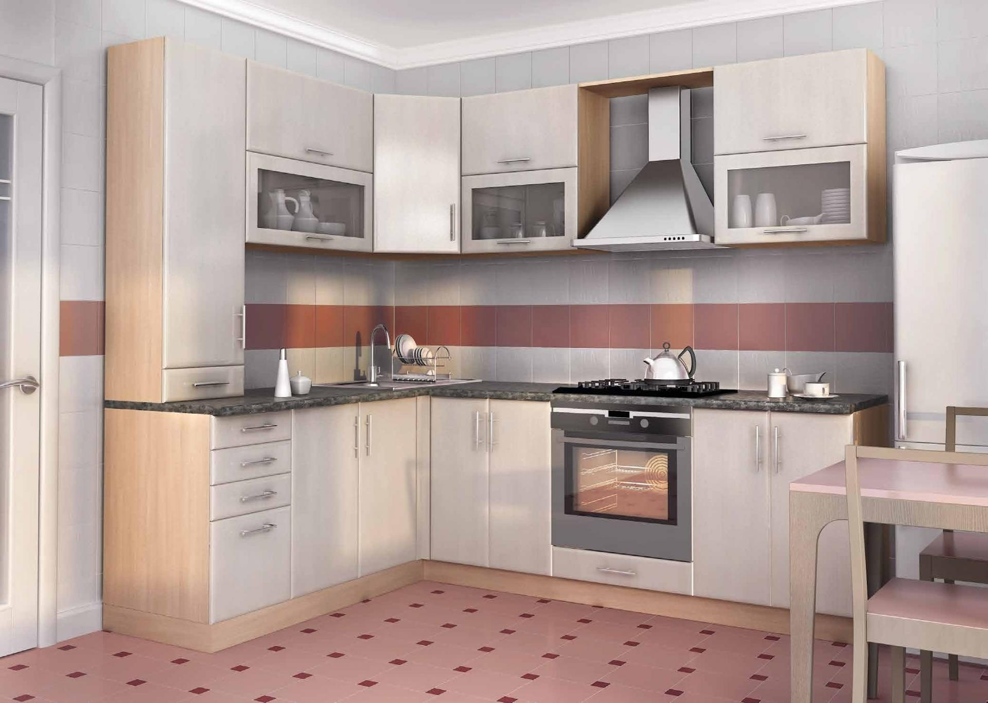 Угловая кухня заказная в цвете груша - вариант 012