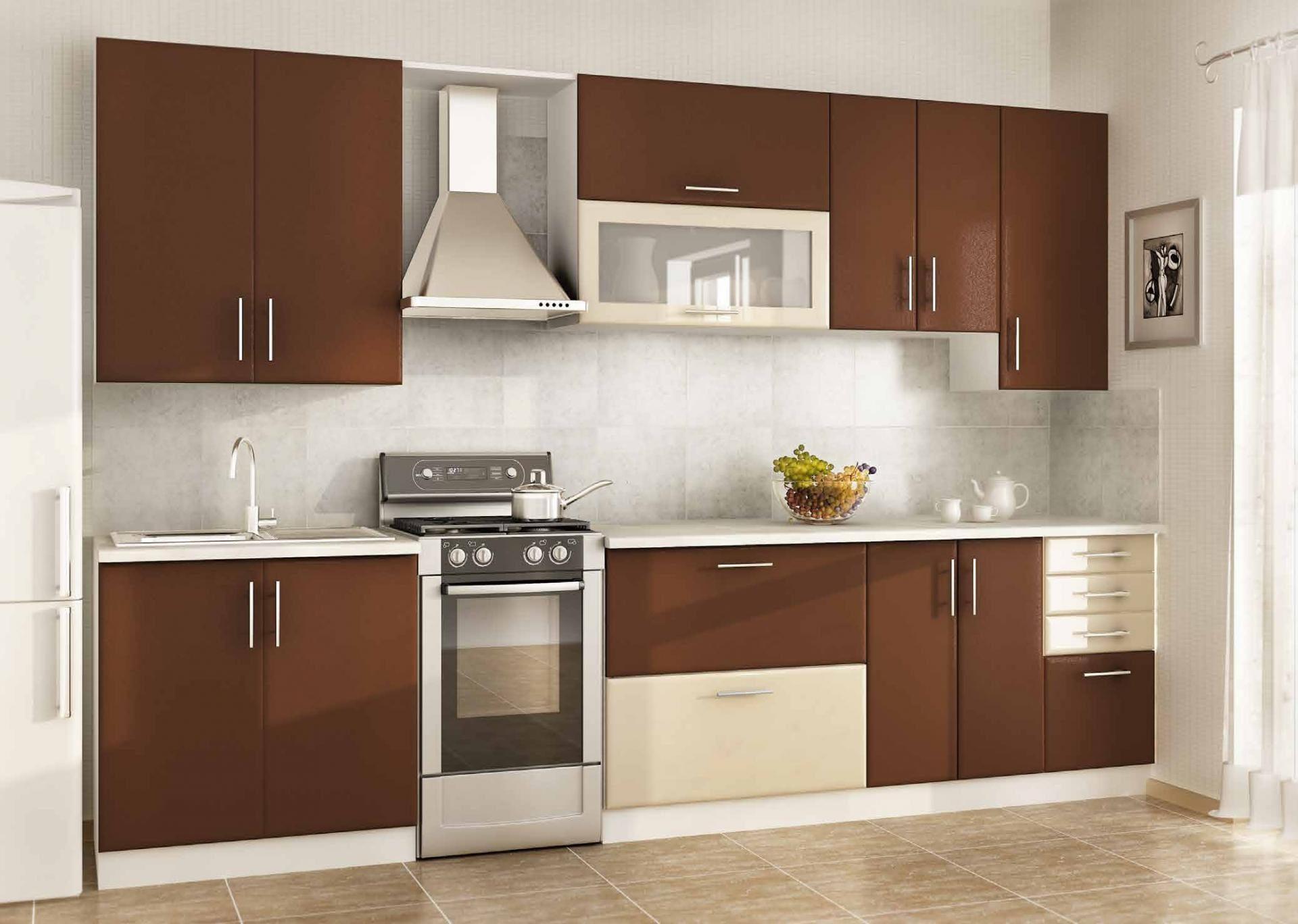 Прямая коричневая кухня мдф - вариант 028
