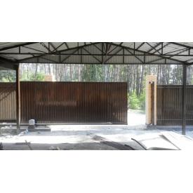 Ворота відкатні з зашивкою профнастил 100x100x3 мм