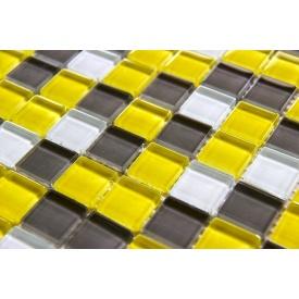 Стеклянная мозаика Керамик Полесье Crystal Yellow Grey 300х300х6 мм