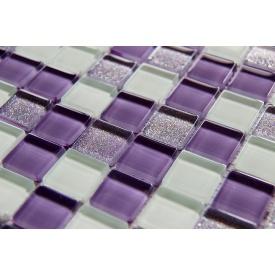 Стеклянная мозаика Керамик Полесье Glam Lilac Mix 1 300х300х6 мм