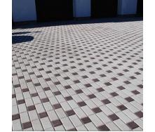 Тротуарна плитка Золотий Мандарин Цегла стандартна 200х100х40 мм білий на сірому цементі