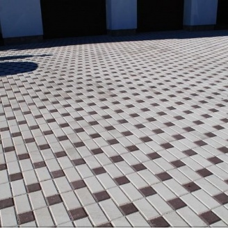 Тротуарная плитка Золотой Мандарин Кирпич стандартный 200х100х40 мм белый на сером цементе