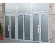 Двері вхідні з теплого алюмінію HOFFMANN 70 з сатиновим склом