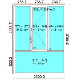 Панорамный блок для лоджии из холодного алюминия HOFFMANN 45 2300х3100 см