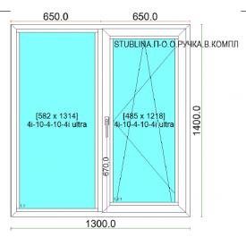 Вікно з холодного алюмінію ALUMIL М15000 1300х1400 см