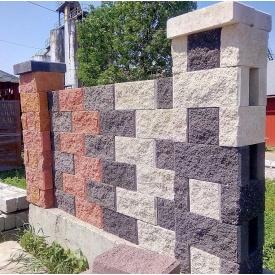Блок заборный Рваный камень цветной 19х10х39 см