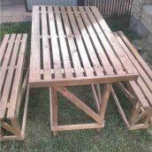 Стол садовый с лавками сосна 1,5х1 м 1,5х0,3 м
