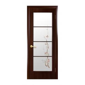 Двери межкомнатные Новый Стиль КВАДРА Виктория со стеклом 700х2000 мм каштан