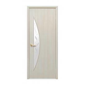 Двери межкомнатные Новый Стиль МОДЕРН Луна с стеклом и рисунком 600х2000 мм дуб жемчужный