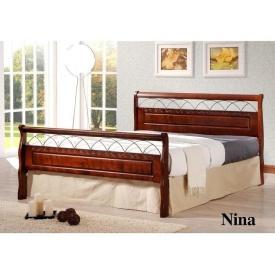 Кровать ONDER MEBLI Nina 1400х2000 мм античное золото/орех