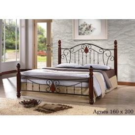Кровать ONDER MEBLI Agnes 1600х2000 мм античное золото/орех