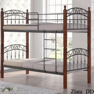 Двухъярусная кровать ONDER MEBLI DD Zlata N 1000х2000х1800 мм античное золото/орех