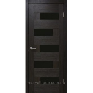 Двери межкомнатные влагостойкие ПВХ Домино ПО 2000х34х600 мм с черным стеклом