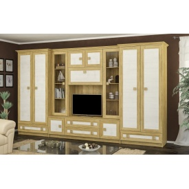 Модульная стенка Тристан-Нью Мебель-Сервис 3600х2081х527 мм дсп дуб-золотой