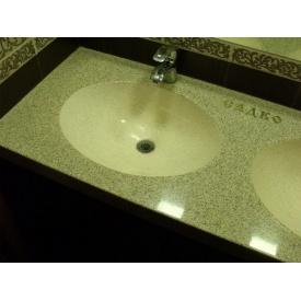 Стільниця індивідуальна у ванну кімнату суцільнолита з чашею Стелла 505х380 мм 145 мм