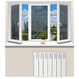 Отделка откосов из пластика трехстворчатого окна с одной строны