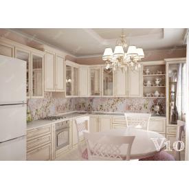 Кухня п-подібна МДФ класика на замовлення індивідуальний стіна V10