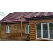 Сайдинг Юга-Бум блок-хаус металлический 370х31,5 мм темный дуб