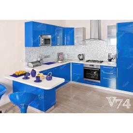 Кухня п-подібна МДФ синій на замовлення індивідуальний стіна V74