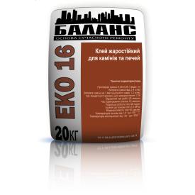Клей жаростійкий для камінів та печей ЕКО16 20 кг