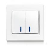 Выключатель двухклавишный с подсветкой ERSTE THEME 9209-02N белый