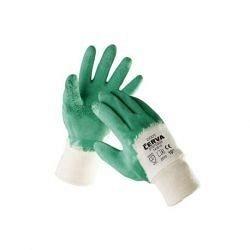 Перчатки вязанные хлопковые мод. Cerva COOT с покрытием из зеленого латекса р.10 (63034)