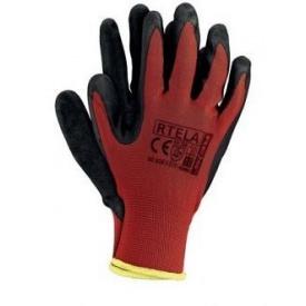 Перчатки нейлоновые RTELA красно-черные р.10 П (24021)