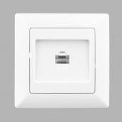 Розетка Lectris телефонная одинарная белая (LCI020)