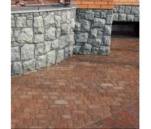 Тротуарная плитка Золотой Мандарин Старый город 120х40 мм на сером цементе персиковый
