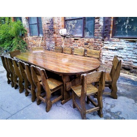 Комплект овальной мебели из дерева 3000х1200 мм
