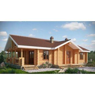 Деревянный дом из оцилиндрованного бревна 9х16 м