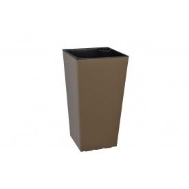 Вазон ELISE 30х30х58 серо коричневый глянцевый