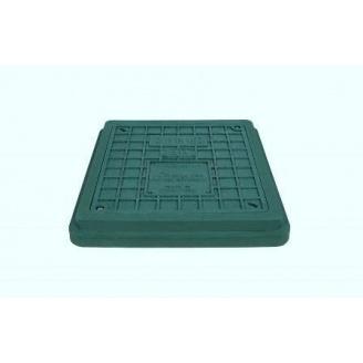 Люк квадратний з замком полімерпіщаний 710х710х60 мм зелений