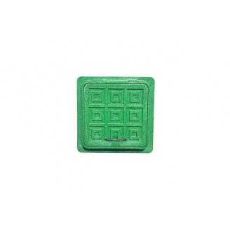 Люк-міні квадратний пластмасовий 380х380х50 мм зелений