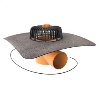 Покрівельна воронка горизонтальна з підігрівом і привареним бітумним фартухом