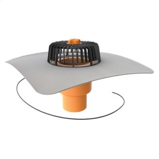 Покрівельна воронка вертикальна з підігрівом і привареним фартухом з ПВХ-мембрани