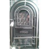 Дверцята пічні для кухні і барбекю Олені хромовані чавунні зі склом 560х345х50 мм чорні