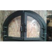 Дверцы для печи, барбекю и сауны Двойные чугунные со стеклом 430х570х50 мм