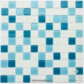 Стеклянная мозаика Котто Керамика GM 4039 C3 CERULEAN M CERULEAN W WHITE 300х300х4 мм