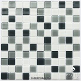 Стеклянная мозаика Котто Керамика GM 4043 C3 STEEL D STEEL M WHITE 300х300х4 мм