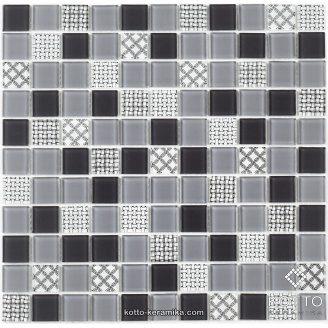Стеклянная мозаика Котто Керамика GM 4053 C3 GRAY M GRAY W STRUCTURE 300х300х4 мм