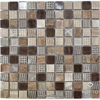 Декоративна мозаїка Котто Кераміка CM 3045 C3 EBONI BROWN BEIGE SILVER 300x300x8 мм