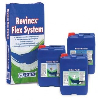 Обмазочная гидроизоляция Revinex Flex + Revinex Flex ES высокоэластичная уф стойкая
