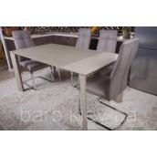 Стол обеденный раскладной Nicolas BRISTOL S стеклянный 1000х740х750 мм капучино